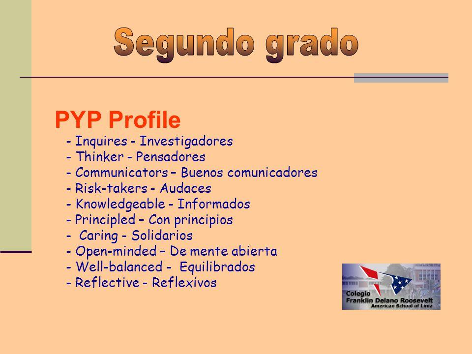 PYP Profile - Inquires - Investigadores - Thinker - Pensadores - Communicators – Buenos comunicadores - Risk-takers - Audaces - Knowledgeable - Informados - Principled – Con principios - Caring - Solidarios - Open-minded – De mente abierta - Well-balanced - Equilibrados - Reflective - Reflexivos