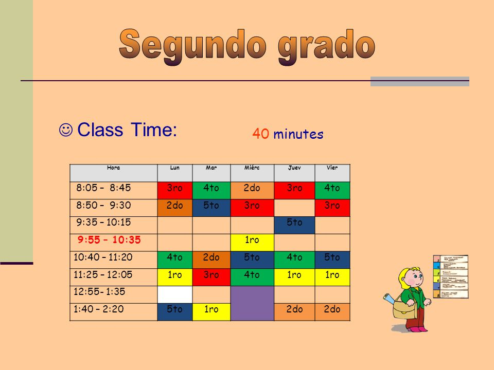 Class Time: 40 minutes HoraLunMarMiércJuevVier 8:05 – 8:453ro4to2do3ro4to 8:50 – 9:302do5to3ro 9:35 – 10:155to 9:55 – 10:351ro 10:40 – 11:204to2do5to4