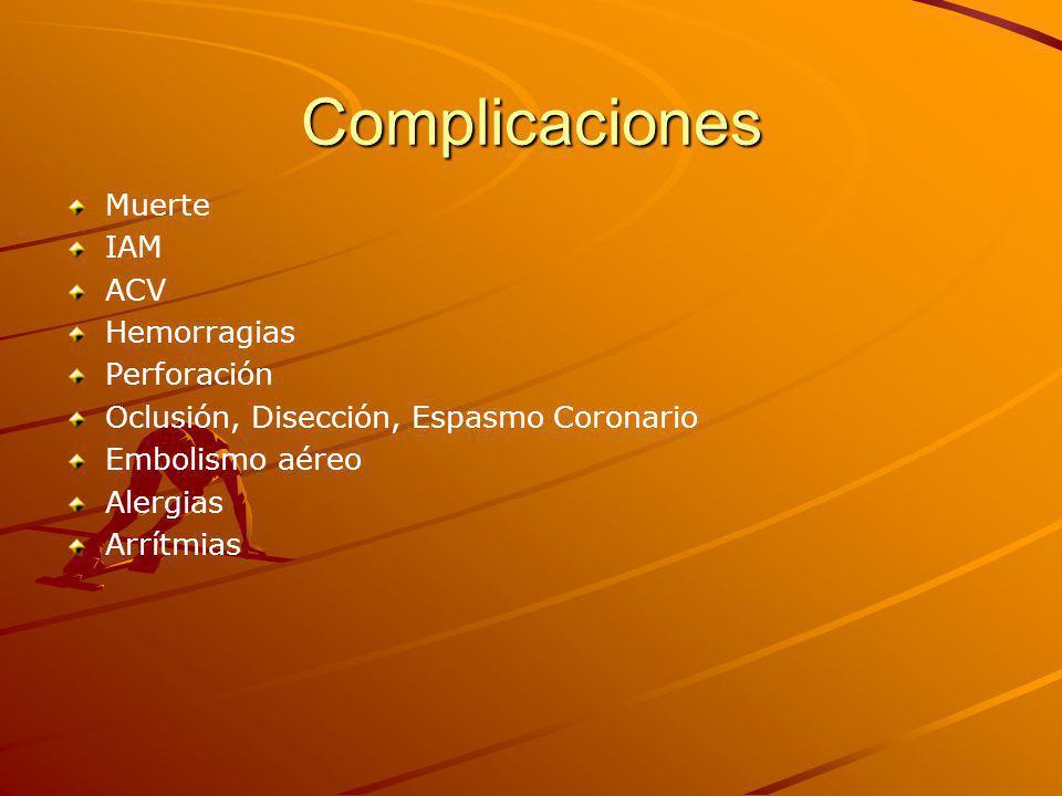 Complicaciones Muerte IAM ACV Hemorragias Perforación Oclusión, Disección, Espasmo Coronario Embolismo aéreo Alergias Arrítmias