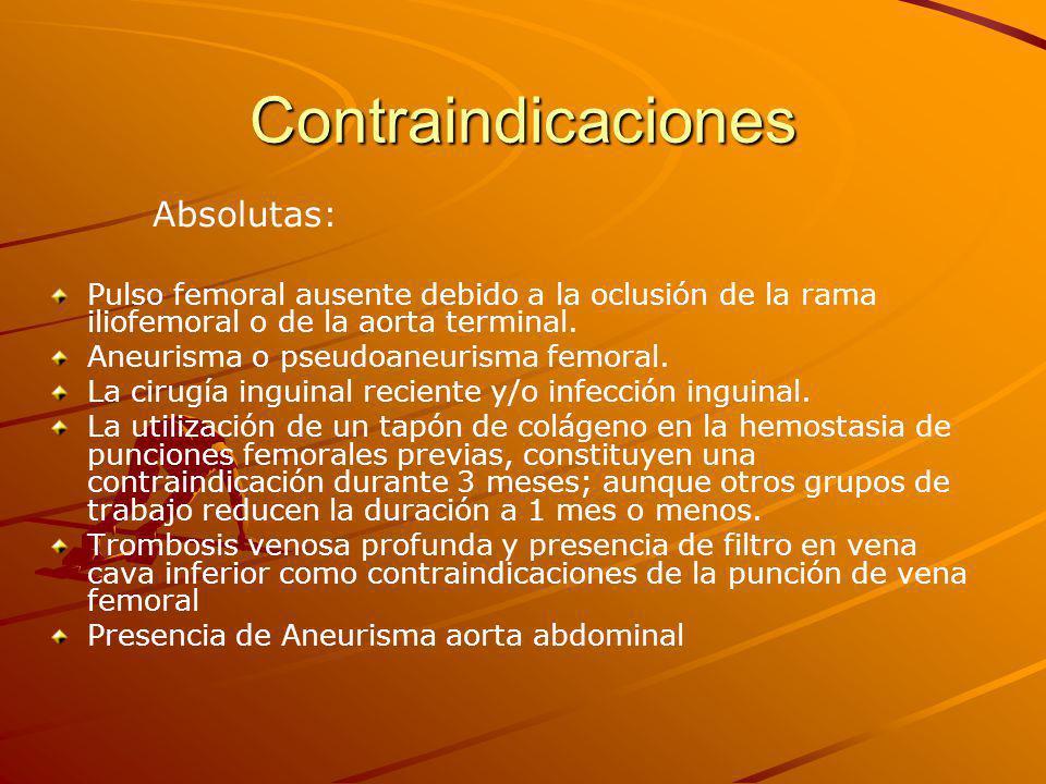 Contraindicaciones Absolutas: Pulso femoral ausente debido a la oclusión de la rama iliofemoral o de la aorta terminal.