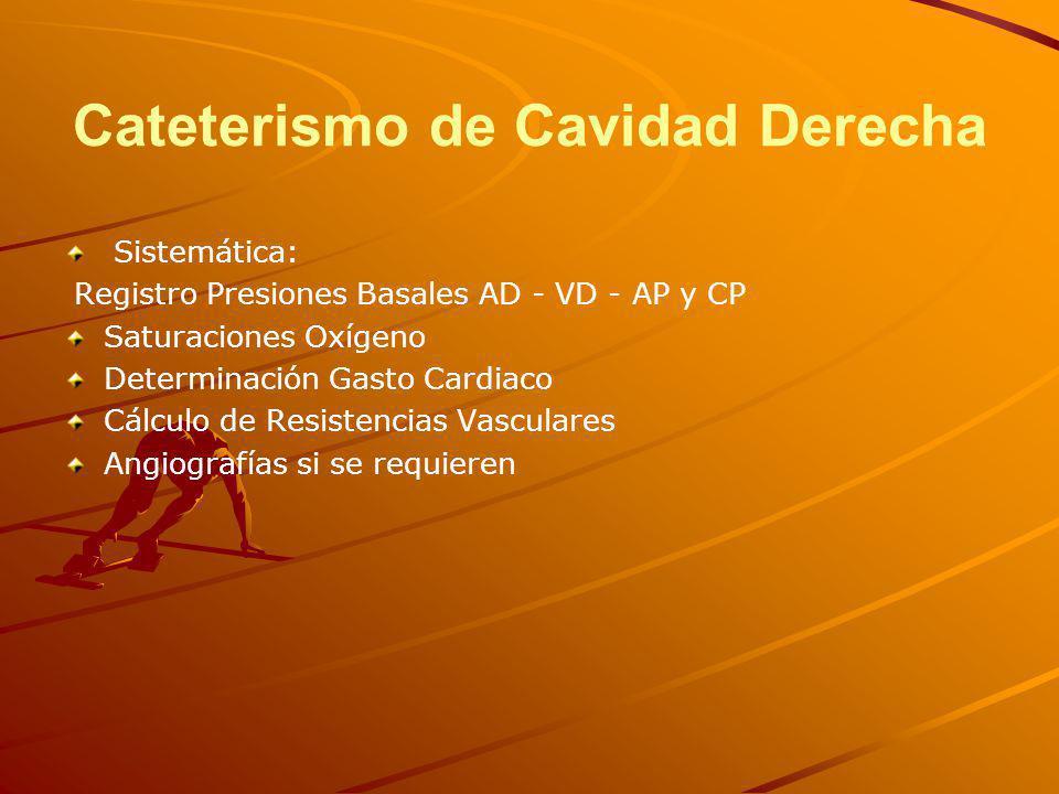 Cateterismo de Cavidad Derecha Sistemática: Registro Presiones Basales AD - VD - AP y CP Saturaciones Oxígeno Determinación Gasto Cardiaco Cálculo de Resistencias Vasculares Angiografías si se requieren