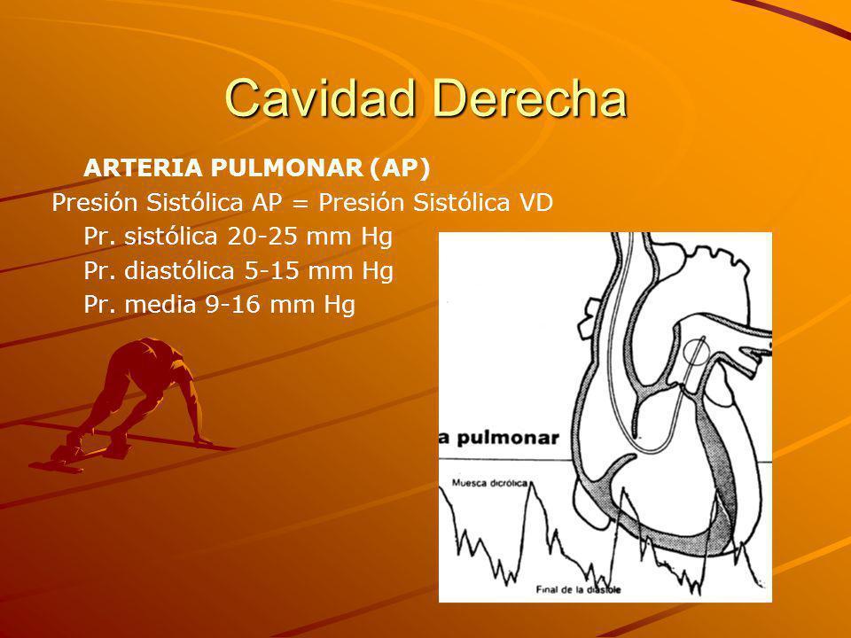 Cavidad Derecha ARTERIA PULMONAR (AP) Presión Sistólica AP = Presión Sistólica VD Pr.