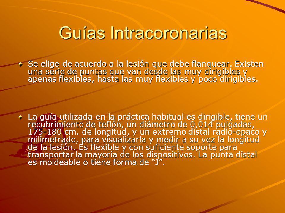 Guías Intracoronarias Se elige de acuerdo a la lesión que debe flanquear.