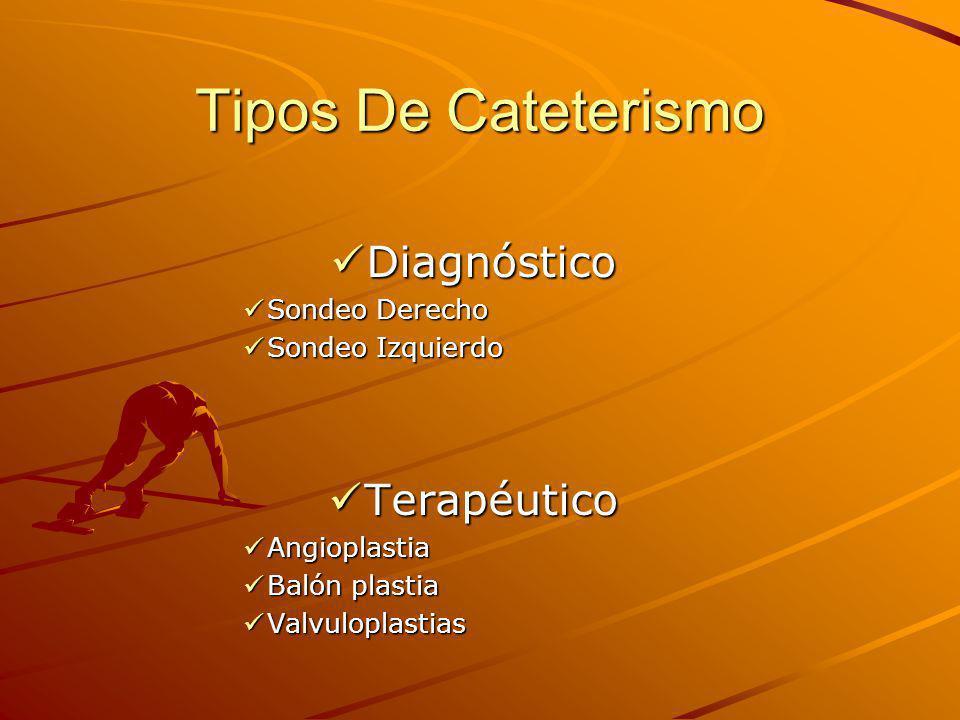 Tipos De Cateterismo Diagnóstico Diagnóstico Sondeo Derecho Sondeo Derecho Sondeo Izquierdo Sondeo Izquierdo Terapéutico Terapéutico Angioplastia Angioplastia Balón plastia Balón plastia Valvuloplastias Valvuloplastias