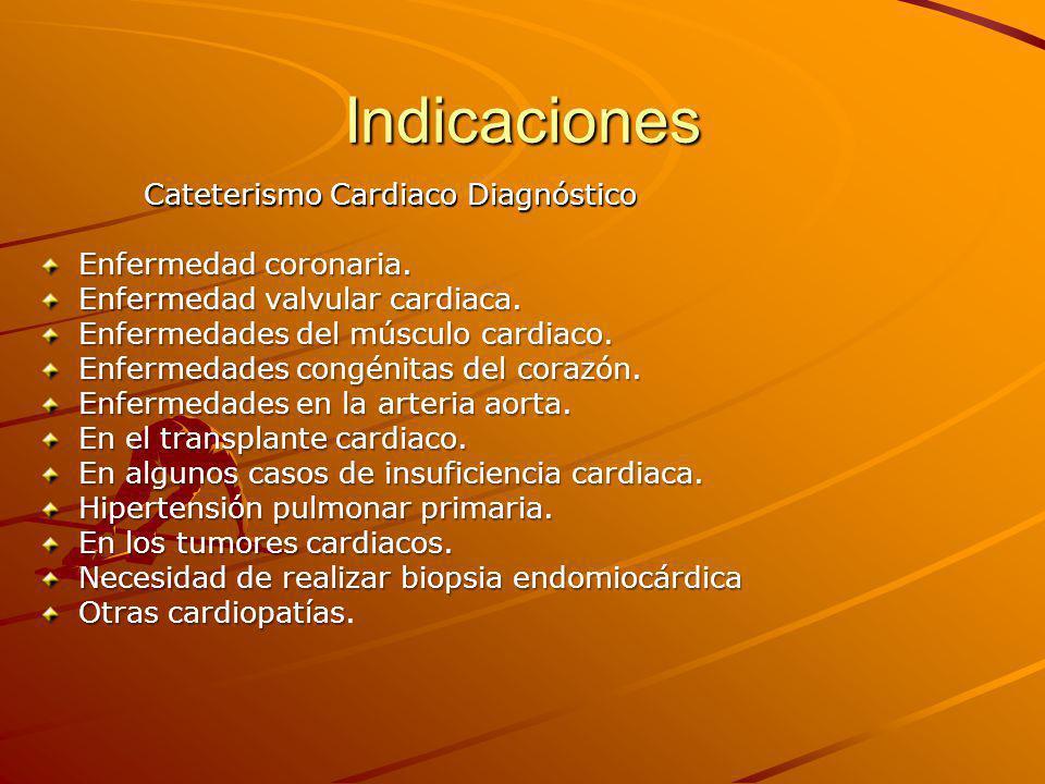 Indicaciones Cateterismo Cardiaco Diagnóstico Enfermedad coronaria.