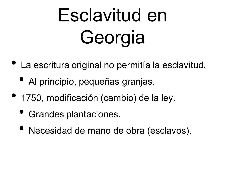 Esclavitud en Georgia La escritura original no permitía la esclavitud.