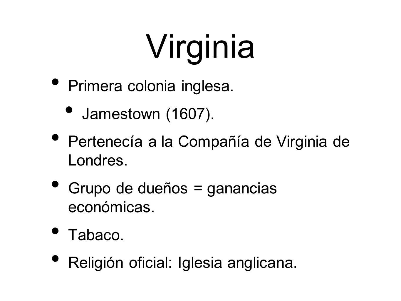 Virginia Primera colonia inglesa.Jamestown (1607).
