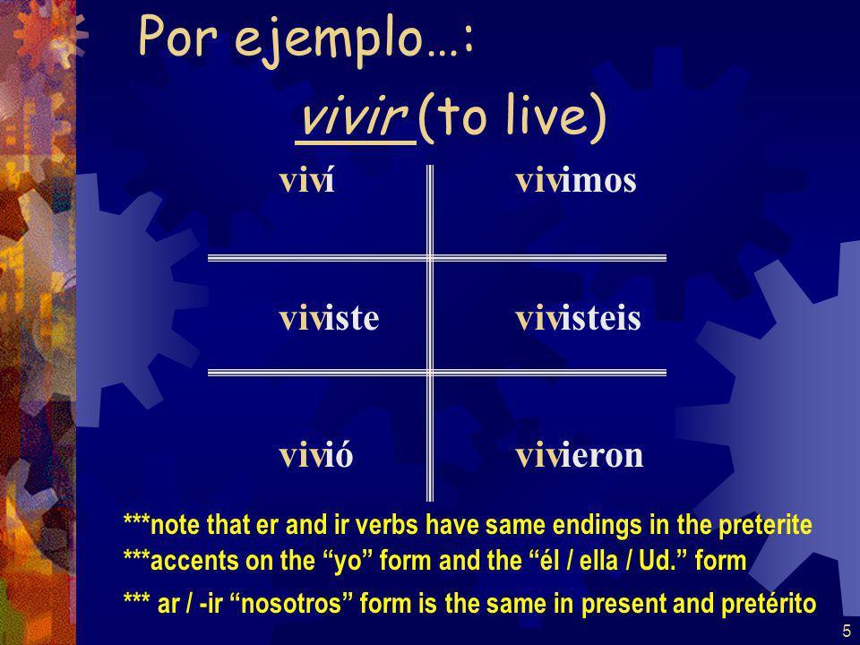 4 escog í iste ió imos isteis ieron Por ejemplo…: escoger (to choose)