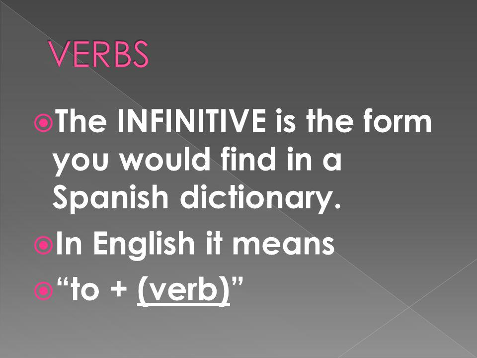 A verb usually names the action in a sentence. We call the verb that ends in -r the INFINITIVE