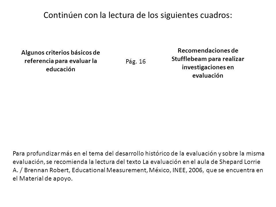 Continúen con la lectura de los siguientes cuadros: Algunos criterios básicos de referencia para evaluar la educación Recomendaciones de Stufflebeam p