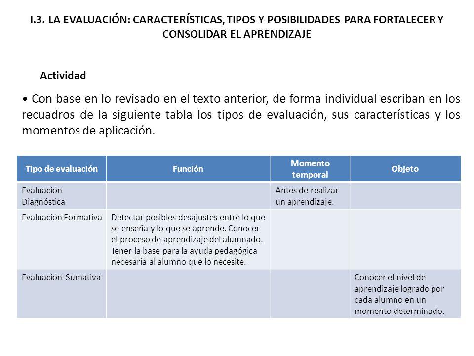 I.3. LA EVALUACIÓN: CARACTERÍSTICAS, TIPOS Y POSIBILIDADES PARA FORTALECER Y CONSOLIDAR EL APRENDIZAJE Actividad Con base en lo revisado en el texto a