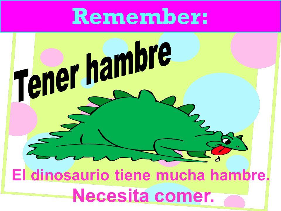 Remember: El dinosaurio tiene mucha hambre. Necesita comer.