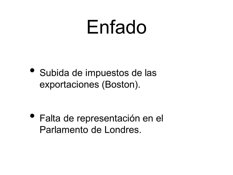 Enfado Subida de impuestos de las exportaciones (Boston). Falta de representación en el Parlamento de Londres.