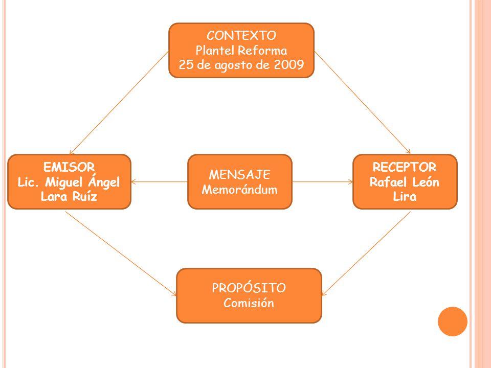 CONTEXTO Plantel Reforma 25 de agosto de 2009 MENSAJE Memorándum PROPÓSITO Comisión RECEPTOR Rafael León Lira EMISOR Lic. Miguel Ángel Lara Ruíz