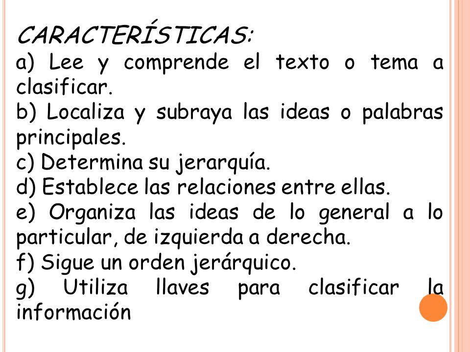 CARACTERÍSTICAS: a) Lee y comprende el texto o tema a clasificar. b) Localiza y subraya las ideas o palabras principales. c) Determina su jerarquía. d
