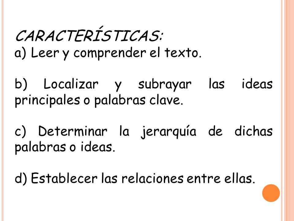 CARACTERÍSTICAS: a)Leer y comprender el texto. b) Localizar y subrayar las ideas principales o palabras clave. c) Determinar la jerarquía de dichas pa