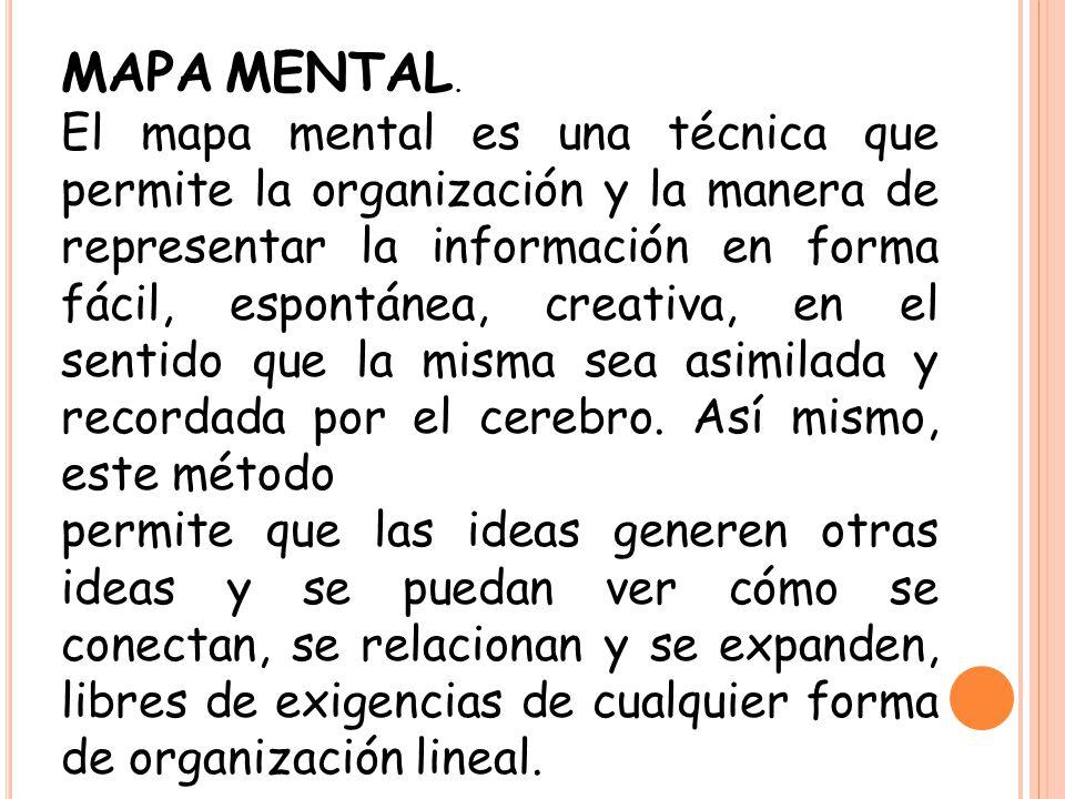 MAPA MENTAL. El mapa mental es una técnica que permite la organización y la manera de representar la información en forma fácil, espontánea, creativa,