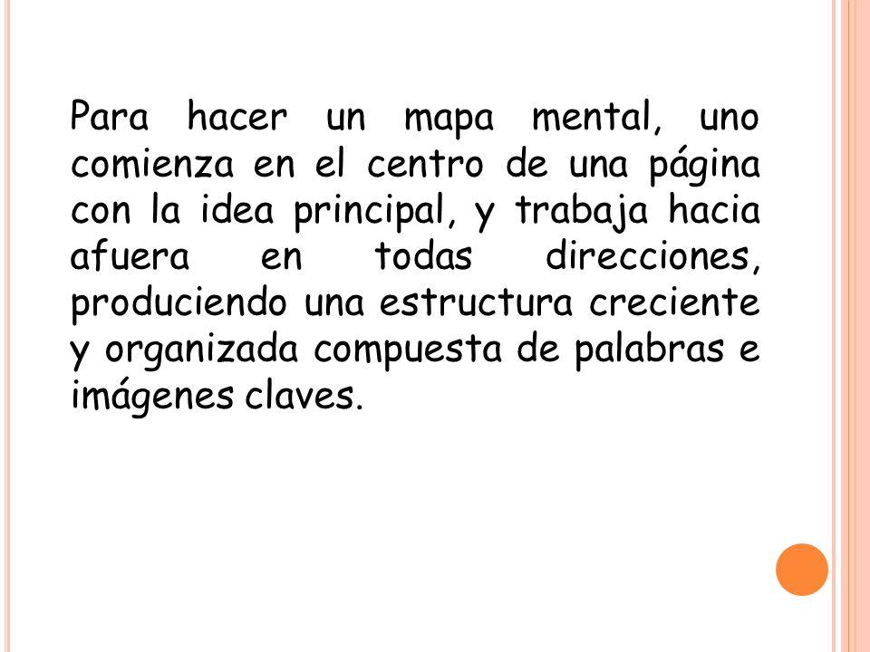 Para hacer un mapa mental, uno comienza en el centro de una página con la idea principal, y trabaja hacia afuera en todas direcciones, produciendo una