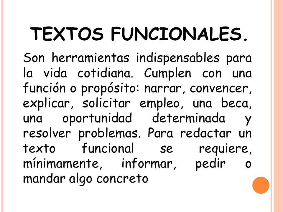 INTENCIÓN COMUNICATIVA Y CARACTERÍSTICAS DE LOS TEXTOS FUNCIONALES INTENCIÓN COMUNICATIVA DE LOS TEXTOS FUNCIONALES CARACTERÍSTICAS DE LOS TEXTOS FUNCIONALES