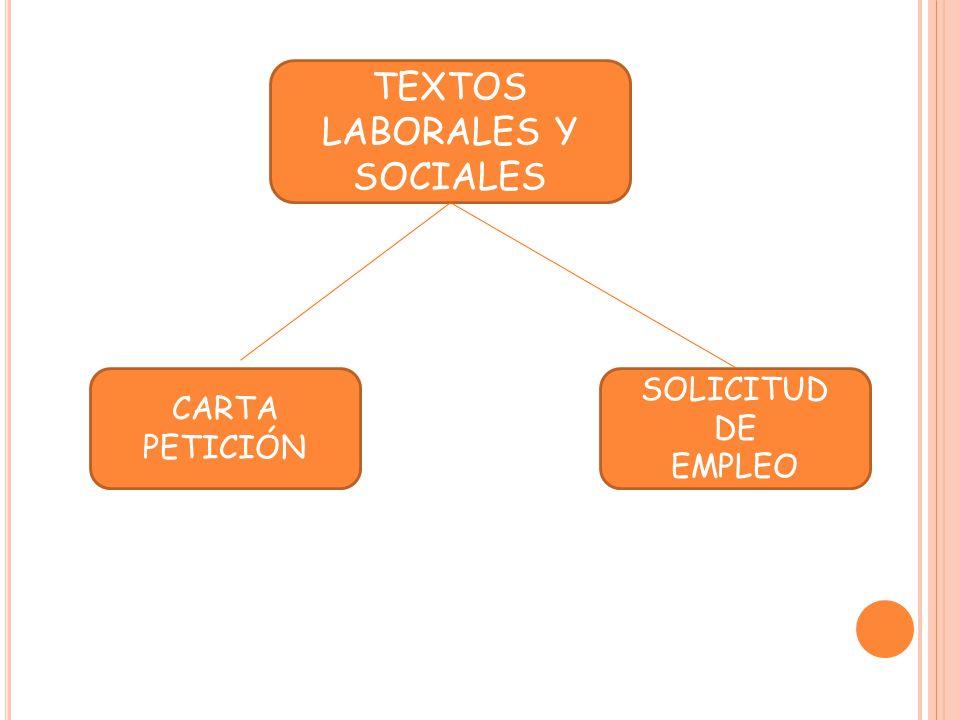 TEXTOS LABORALES Y SOCIALES CARTA PETICIÓN SOLICITUD DE EMPLEO