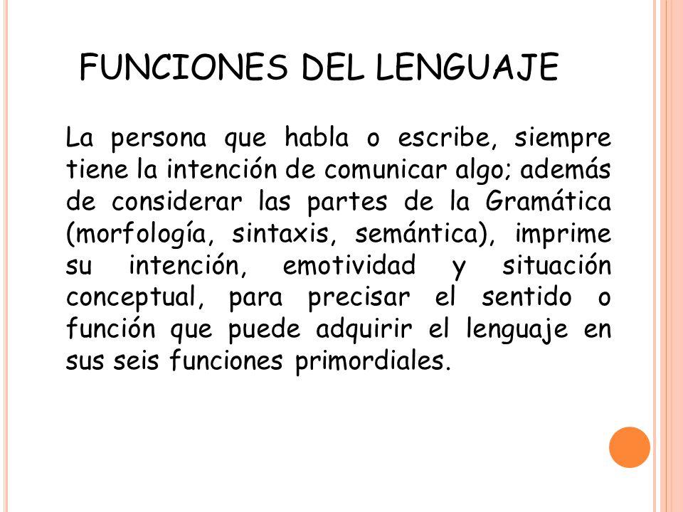 La persona que habla o escribe, siempre tiene la intención de comunicar algo; además de considerar las partes de la Gramática (morfología, sintaxis, s