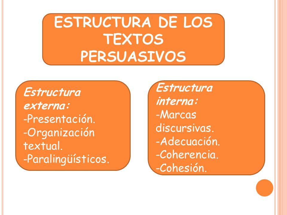 ESTRUCTURA DE LOS TEXTOS PERSUASIVOS Estructura externa: -Presentación. -Organización textual. -Paralingüísticos. Estructura interna: -Marcas discursi
