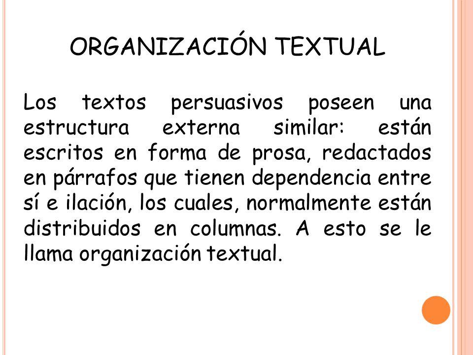 ORGANIZACIÓN TEXTUAL Los textos persuasivos poseen una estructura externa similar: están escritos en forma de prosa, redactados en párrafos que tienen