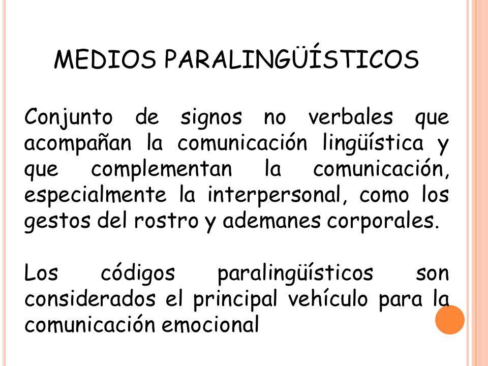 MEDIOS PARALINGÜÍSTICOS Conjunto de signos no verbales que acompañan la comunicación lingüística y que complementan la comunicación, especialmente la