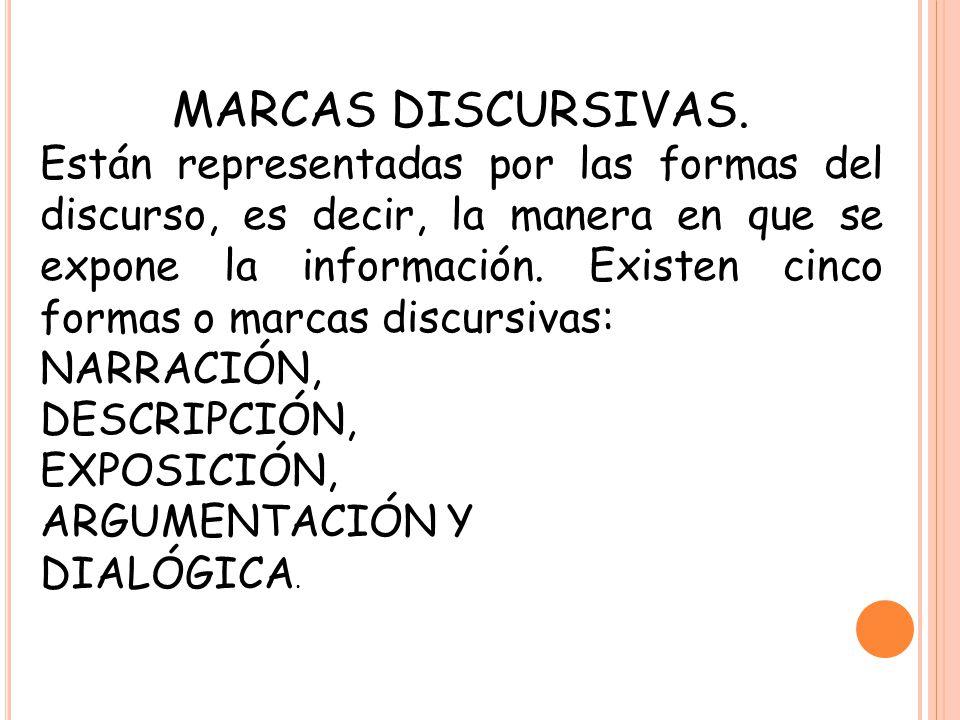 MARCAS DISCURSIVAS. Están representadas por las formas del discurso, es decir, la manera en que se expone la información. Existen cinco formas o marca