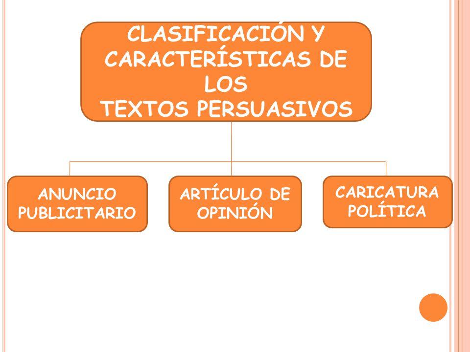 CLASIFICACIÓN Y CARACTERÍSTICAS DE LOS TEXTOS PERSUASIVOS ANUNCIO PUBLICITARIO CARICATURA POLÍTICA ARTÍCULO DE OPINIÓN