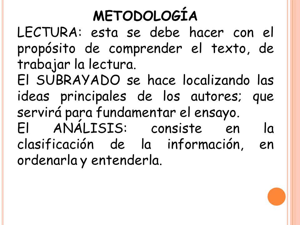 METODOLOGÍA LECTURA: esta se debe hacer con el propósito de comprender el texto, de trabajar la lectura. El SUBRAYADO se hace localizando las ideas pr