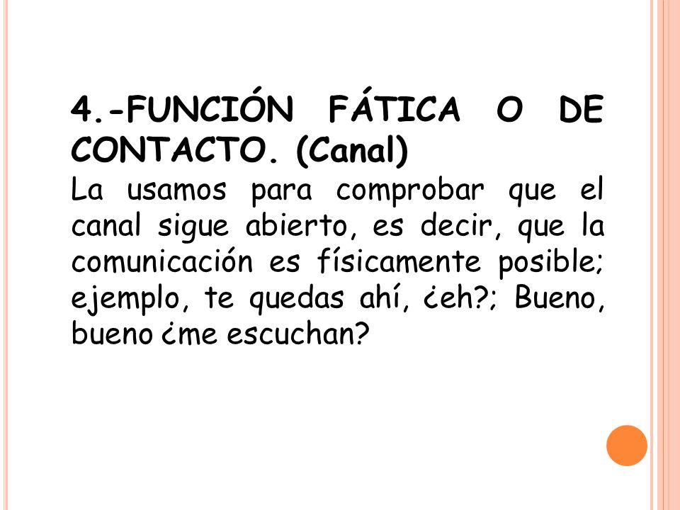 4.-FUNCIÓN FÁTICA O DE CONTACTO. (Canal) La usamos para comprobar que el canal sigue abierto, es decir, que la comunicación es físicamente posible; ej