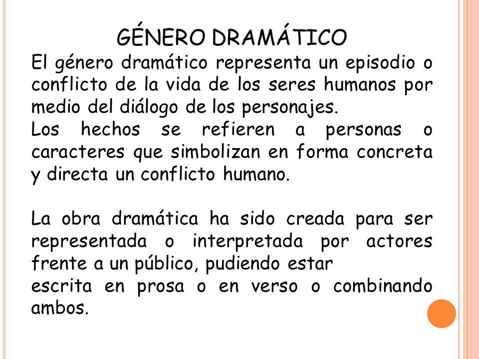 GÉNERO DRAMÁTICO El género dramático representa un episodio o conflicto de la vida de los seres humanos por medio del diálogo de los personajes. Los h