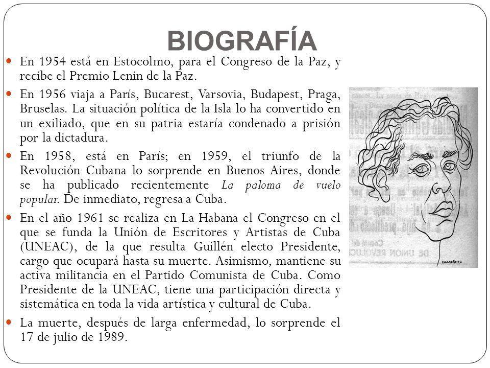 BIOGRAFÍA En 1954 está en Estocolmo, para el Congreso de la Paz, y recibe el Premio Lenin de la Paz. En 1956 viaja a París, Bucarest, Varsovia, Budape