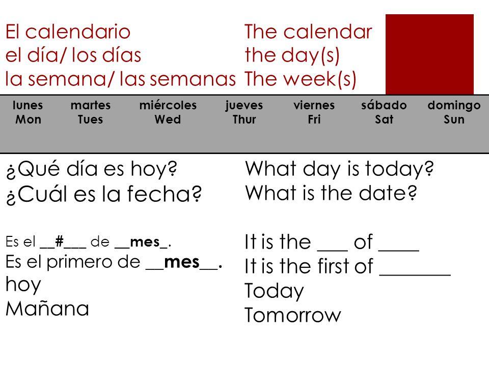 El calendario el día/ los días la semana/ las semanas The calendar the day(s) The week(s) lunes Mon martes Tues miércoles Wed jueves Thur viernes Fri