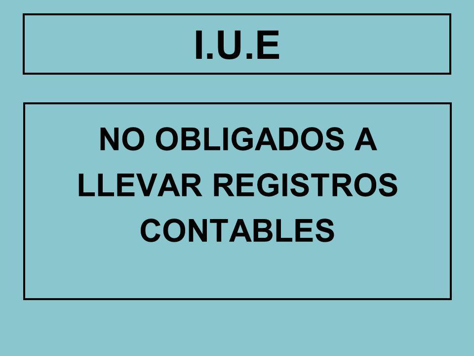 No obligados a llevar registros contables I.U.E Asociaciones Civiles Fundaciones Instituciones no Lucrativas Sujetos Pasivos Inc.