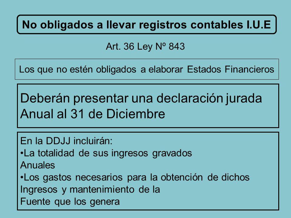 M.I.D.F.No obligados a llevar registros contables I.U.E Art.