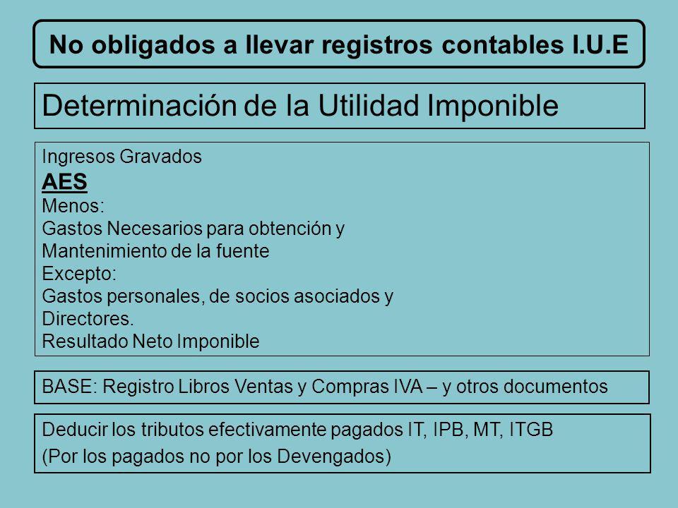 No obligados a llevar registros contables I.U.E Exención Requisitos