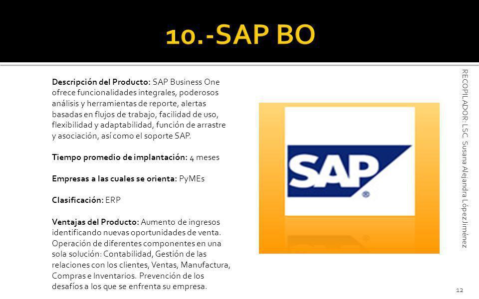 Descripción del Producto: SAP Business One ofrece funcionalidades integrales, poderosos análisis y herramientas de reporte, alertas basadas en flujos de trabajo, facilidad de uso, flexibilidad y adaptabilidad, función de arrastre y asociación, así como el soporte SAP.