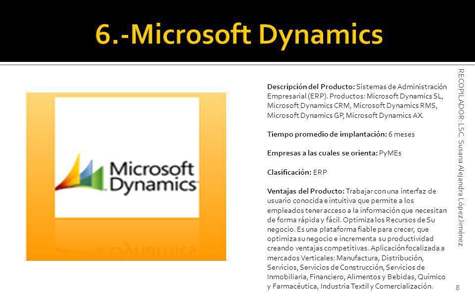 Descripción del Producto: Sistemas de Administración Empresarial (ERP).