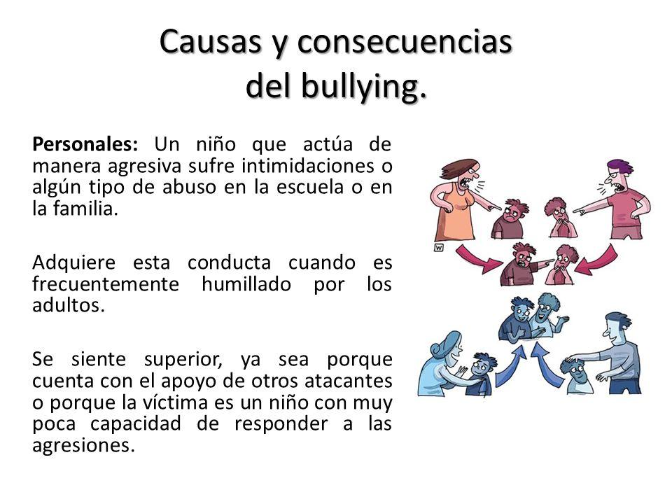 Causas y consecuencias del bullying. Personales: Un niño que actúa de manera agresiva sufre intimidaciones o algún tipo de abuso en la escuela o en la