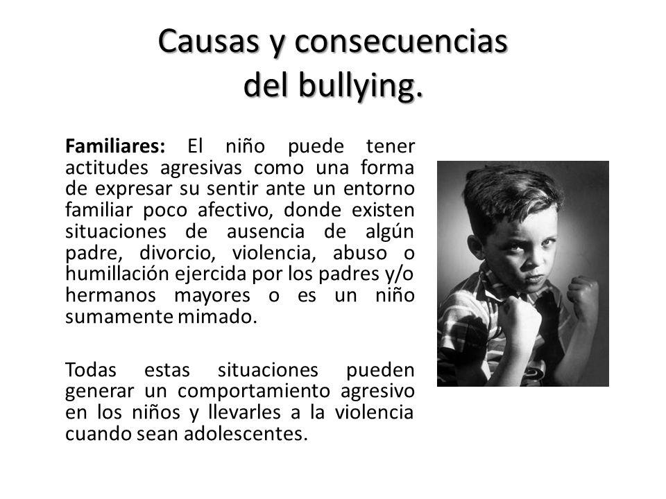 Causas y consecuencias del bullying. Familiares: El niño puede tener actitudes agresivas como una forma de expresar su sentir ante un entorno familiar