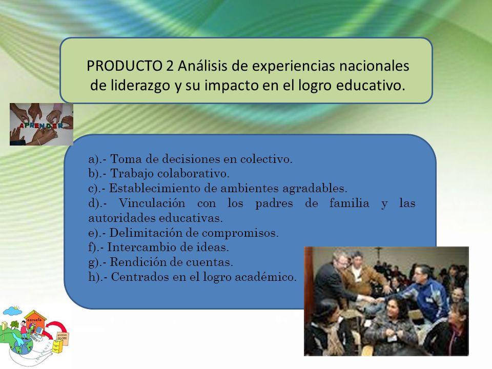 PRODUCTO 2 Análisis de experiencias nacionales de liderazgo y su impacto en el logro educativo. a).- Toma de decisiones en colectivo. b).- Trabajo col