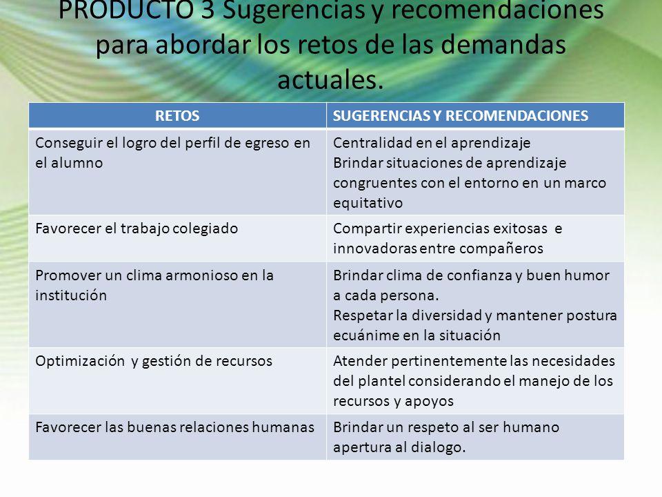 PRODUCTO 3 Sugerencias y recomendaciones para abordar los retos de las demandas actuales. RETOSSUGERENCIAS Y RECOMENDACIONES Conseguir el logro del pe
