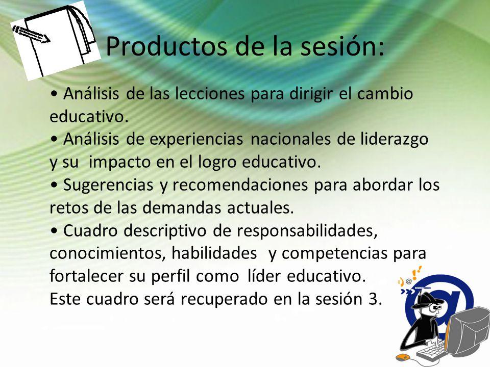 Productos de la sesión: Análisis de las lecciones para dirigir el cambio educativo. Análisis de experiencias nacionales de liderazgo y su impacto en e
