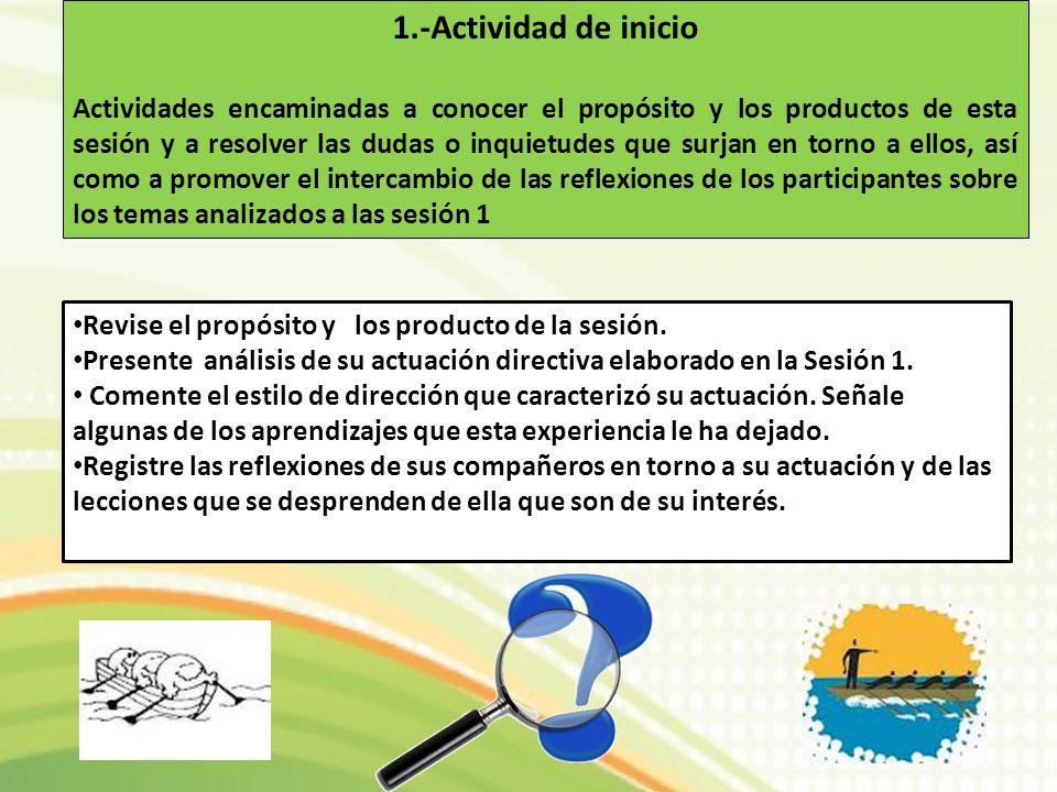 1.-Actividad de inicio Actividades encaminadas a conocer el propósito y los productos de esta sesión y a resolver las dudas o inquietudes que surjan e