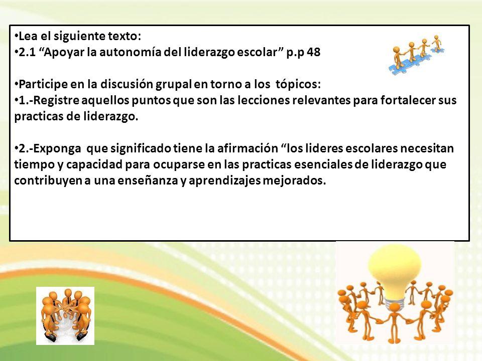 Lea el siguiente texto: 2.1 Apoyar la autonomía del liderazgo escolar p.p 48 Participe en la discusión grupal en torno a los tópicos: 1.-Registre aque