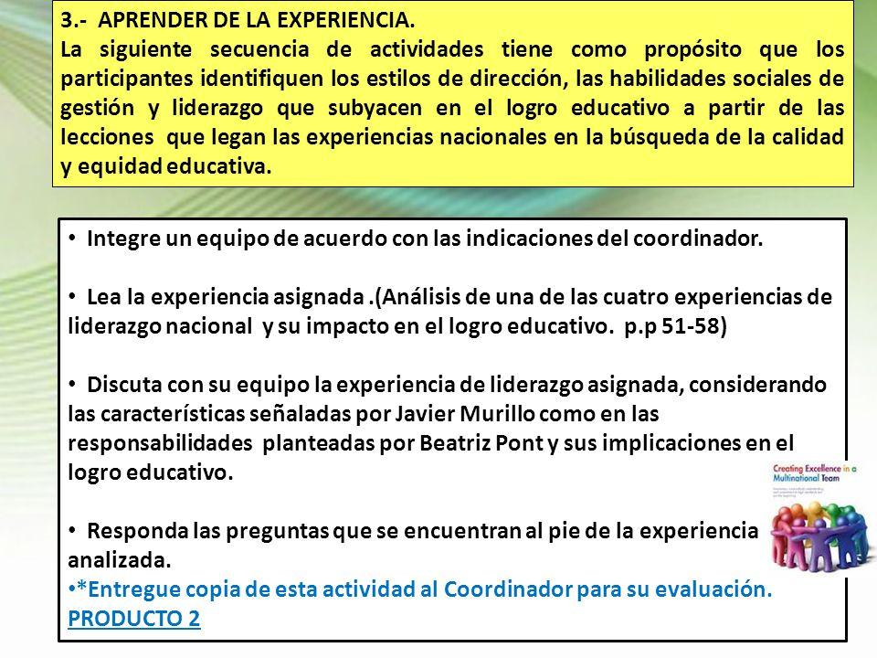 3.- APRENDER DE LA EXPERIENCIA. La siguiente secuencia de actividades tiene como propósito que los participantes identifiquen los estilos de dirección