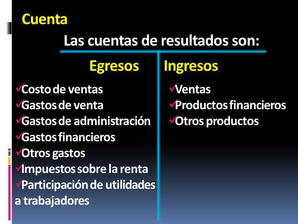 Cuenta Las cuentas de resultados son: EgresosIngresos Costo de ventas Gastos de venta Gastos de administración Gastos financieros Otros gastos Impuest