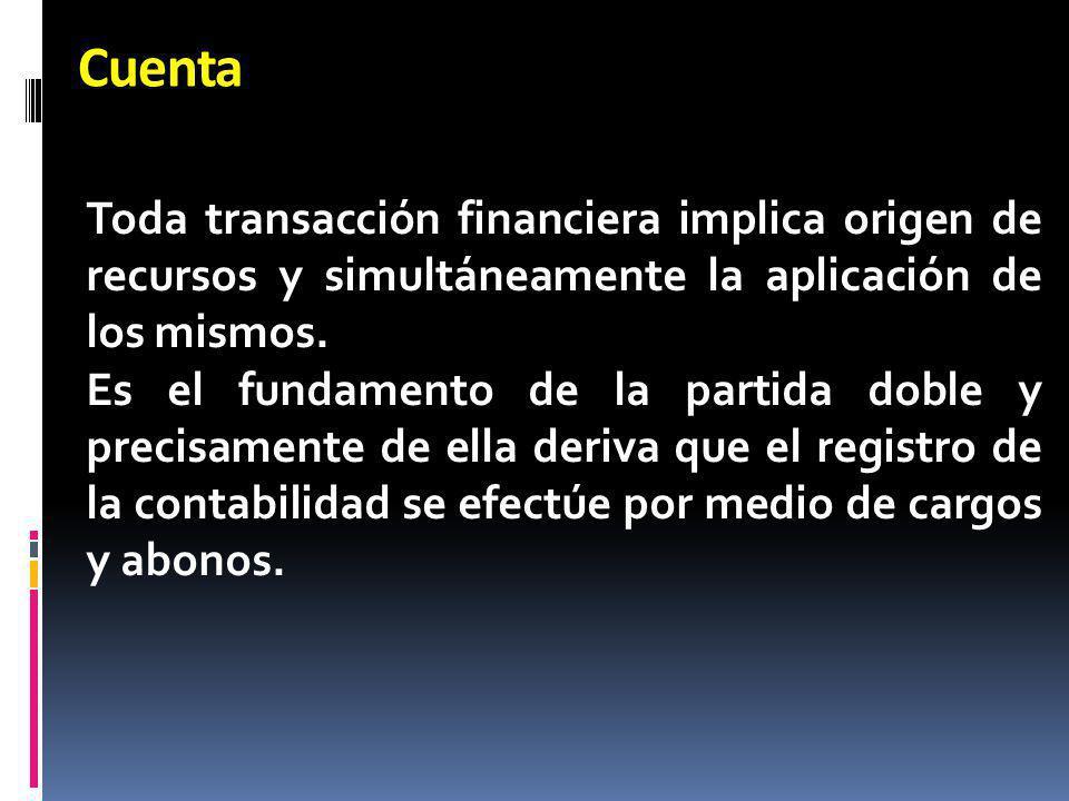 Cuenta Toda transacción financiera implica origen de recursos y simultáneamente la aplicación de los mismos. Es el fundamento de la partida doble y pr